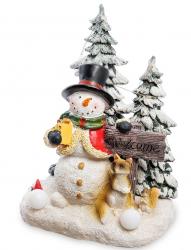 """Музыкальная новогодняя миниатюра с подсветкой """"Снеговик"""" 19,5 см"""