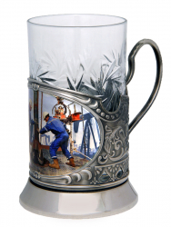 """Набор для чая """"Нефтяники"""" (цветной) в деревянном футляре"""
