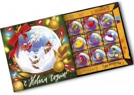 """Набор из 9 плиток молочного шоколада """"С Новым годом. Сказочный шар"""""""