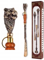 """Ложка д/обуви """"Тигр"""" (бронза) с деревянной ручкой 57 см"""