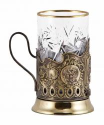 """Набор для чая """"Георгий Победоносец"""" с накладками художественного литья"""