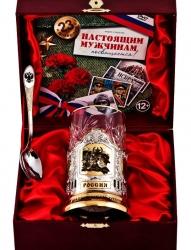 """Набор для чая """"Слава защитникам Отечества!"""" в/з в деревянном футляре с DVD"""